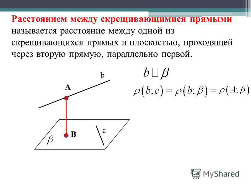 Расстоянием между скрещивающимися прямыми называется расстояние между одной из скрещивающихся прямых и плоскостью, проходящей через вторую прямую, параллельно первой. b c A B