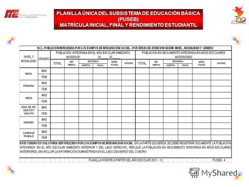 PLANILLA ÚNICA DEL SUBSISTEMA DE EDUCACIÓN BÁSICA (PUSEB) MATRÍCULA INICIAL, FINAL Y RENDIMIENTO ESTUDIANTIL