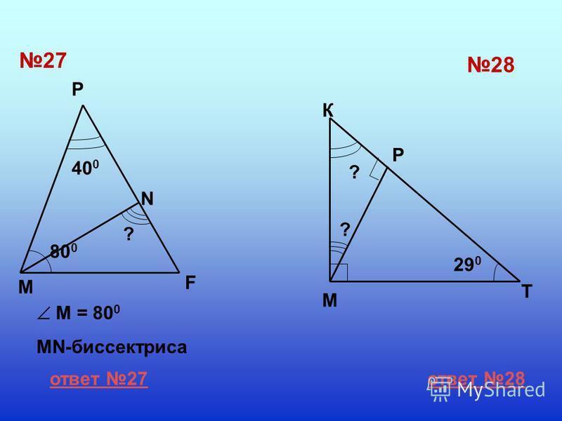27 28 M F P N M = 80 0 MN-биссектриса 40 0 80 0 ? ? ? 29 0 К М Р Т ответ 27 ответ 28