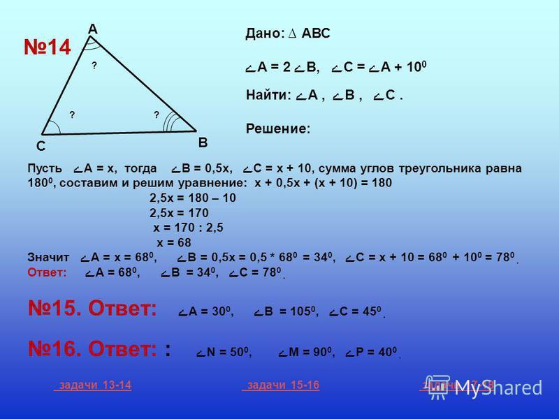 С А В ? ?? 14 Дано: АВС ےА = 2 ےВ, ےС = ےА + 10 0 Найти: ےА, ےВ, ےС. Решение: Пусть ے А = х, тогда ےВ = 0,5 х, ے С = х + 10, сумма углов треугольника равна 180 0, составим и решим уравнение: х + 0,5 х + (х + 10) = 180 2,5 х = 180 – 10 2,5 х = 170 х =