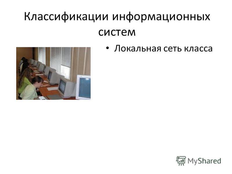 Классификации информационных систем Локальная сеть класса