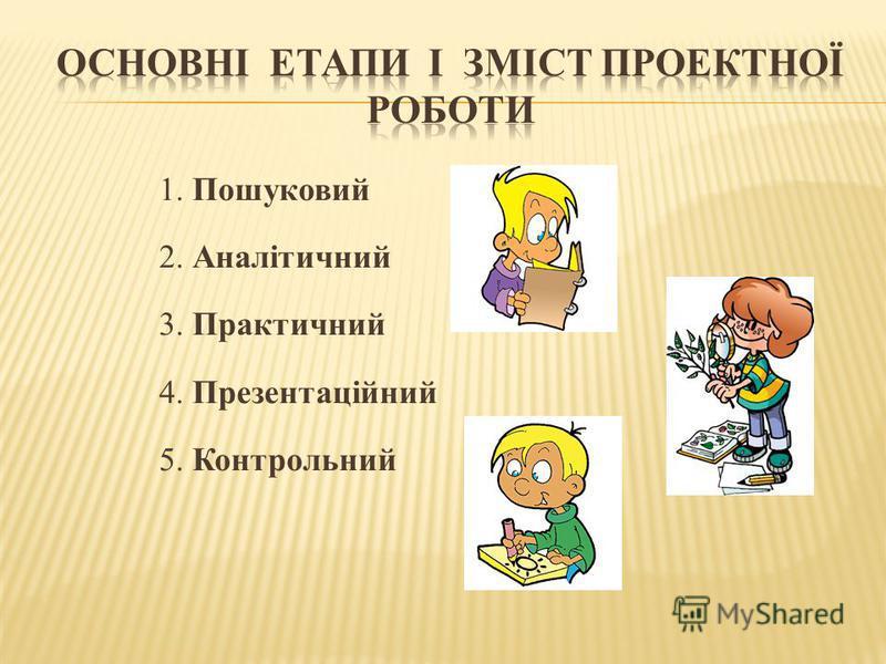 1. Пошуковий 2. Аналітичний 3. Практичний 4. Презентаційний 5. Контрольний