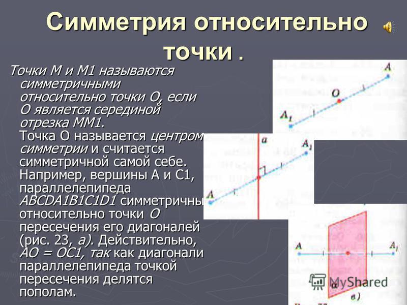 Симметрия относительно точки. Симметрия относительно точки. Точки М и М1 называются симметричными относительно точки О, если О является серединой отрезка MM1. Точка О называется центром симметрии и считается симметричной самой себе. Например, вершины