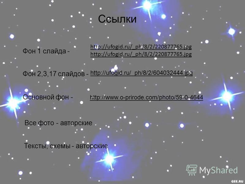Ссылки Фон 1 слайда - Фон 2,3,17 слайдов - Все фото - авторские Тексты, схемы - авторские http://ufogid.ru/_ph/8/2/220877765. jpg http://ufogid.ru/_ph/8/2/604032444. jpg Основной фон - http://www.o-prirode.com/photo/59-0-4644 http://www.o-prirode.com