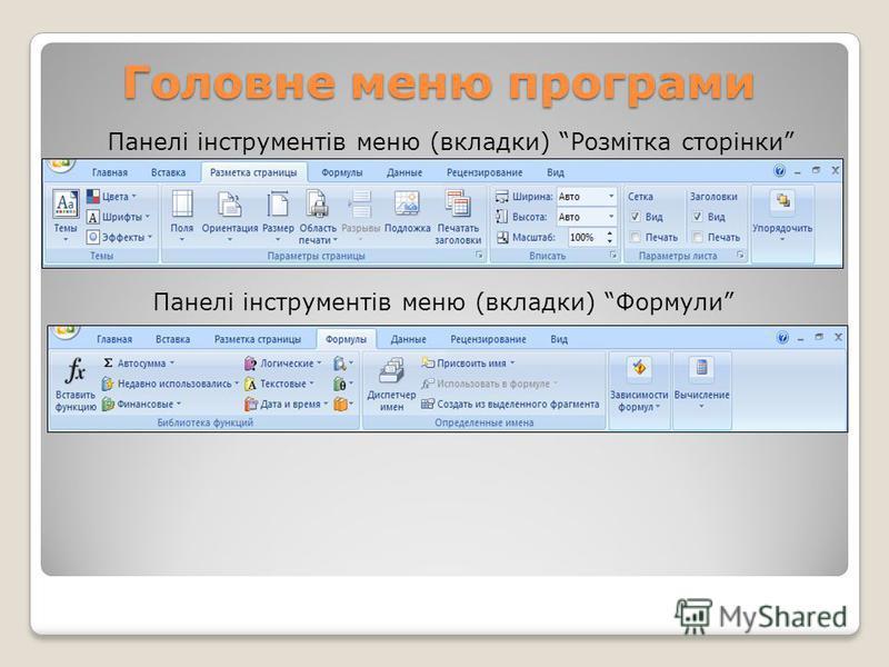 Головне меню програми Панелі інструментів меню (вкладки) Розмітка сторінки Панелі інструментів меню (вкладки) Формули
