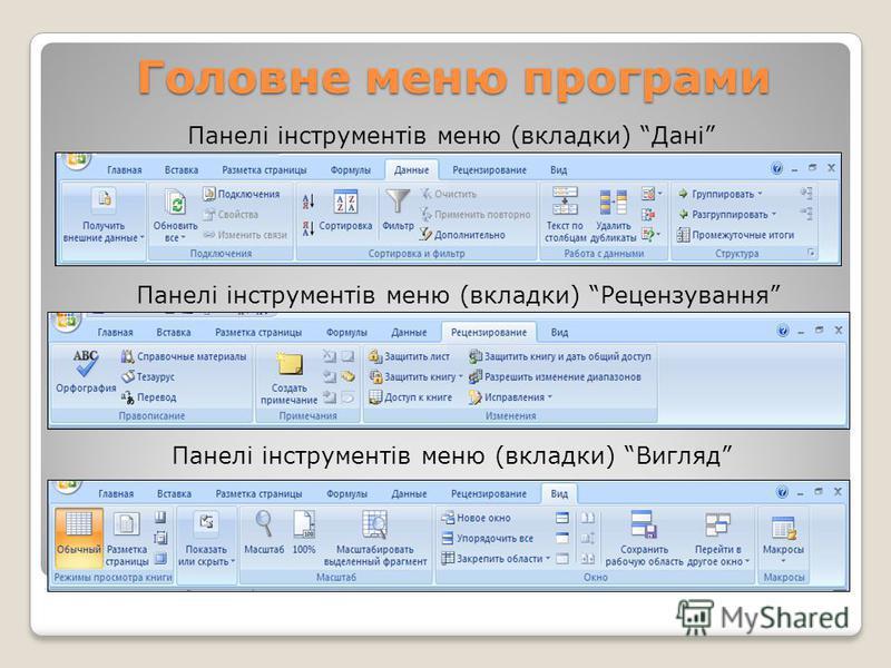 Головне меню програми Панелі інструментів меню (вкладки) Дані Панелі інструментів меню (вкладки) Рецензування Панелі інструментів меню (вкладки) Вигляд