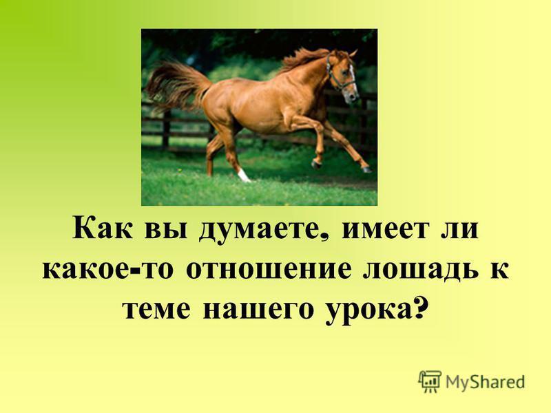 Как вы думаете, имеет ли какое - то отношение лошадь к теме нашего урока ?