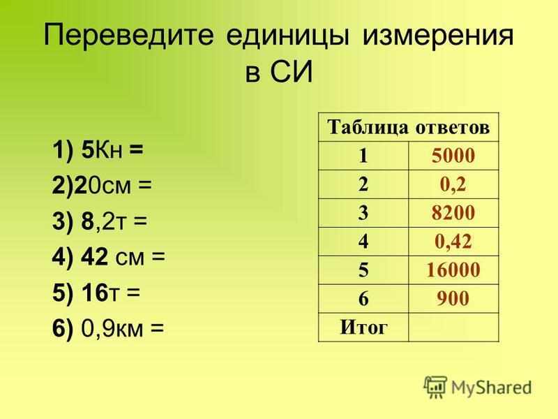 Переведите единицы измерения в СИ Таблица ответов 15000 20,2 38200 40,42 516000 6900 Итог 1) 5Кн = 2)20 см = 3) 8,2 т = 4) 42 см = 5) 16 т = 6) 0,9 км =