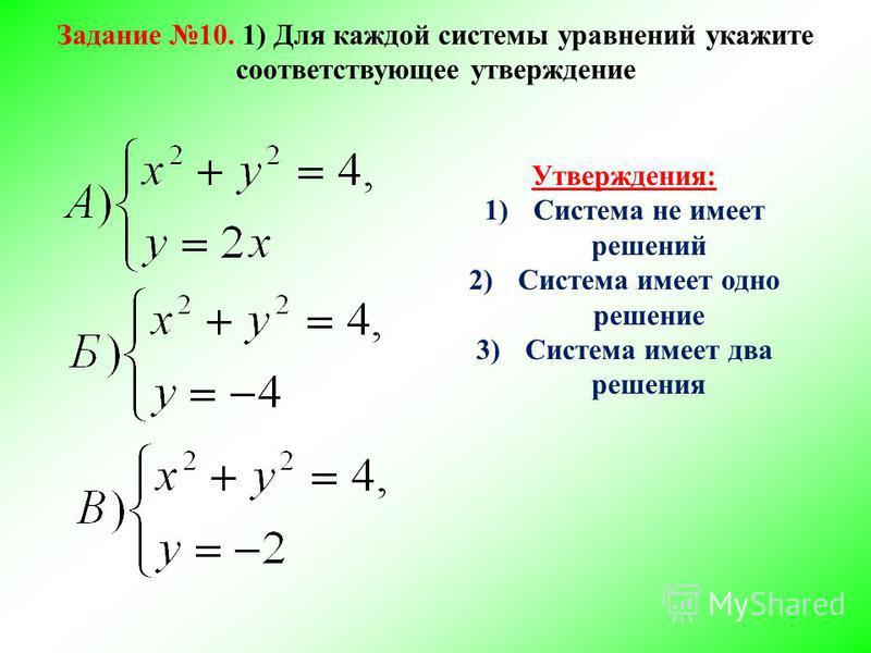 Утверждения: 1)Система не имеет решений 2)Система имеет одно решение 3)Система имеет два решения Задание 10. 1) Для каждой системы уравнений укажите соответствующее утверждение