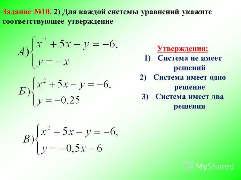 Утверждения: 1)Система не имеет решений 2)Система имеет одно решение 3)Система имеет два решения Задание 10. 2) Для каждой системы уравнений укажите соответствующее утверждение