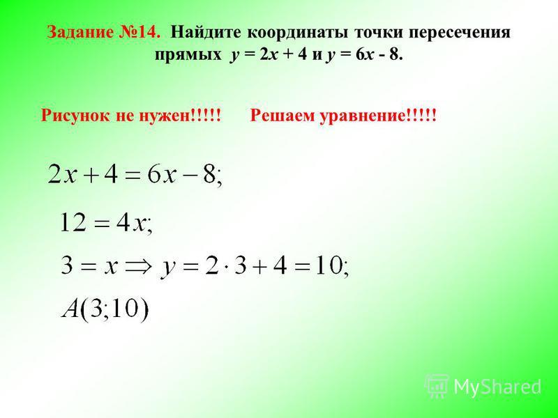 Задание 14. Найдите координаты точки пересечения прямых у = 2 х + 4 и у = 6 х - 8. Рисунок не нужен!!!!!Решаем уравнение!!!!!
