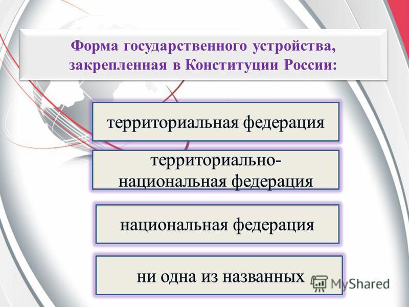 Форма государственного устройства, закрепленная в Конституции России: