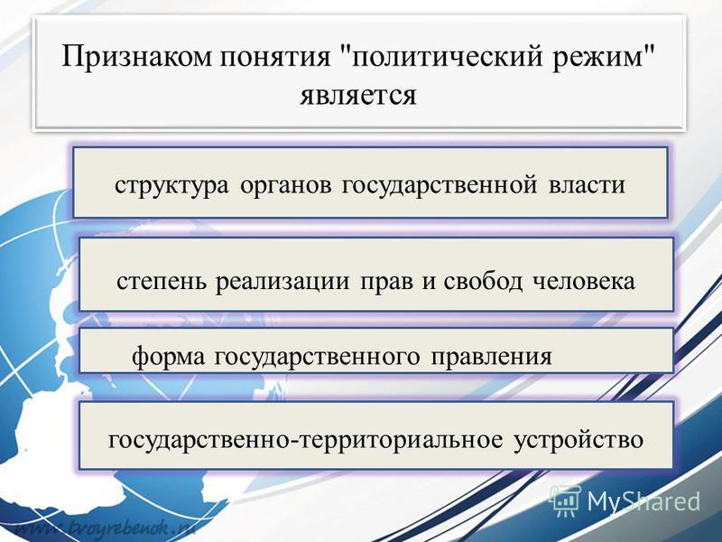 Признаком понятия политический режим является степень реализации прав и свобод человека форма государственного правления государственно-территориальное устройство структура органов государственной власти