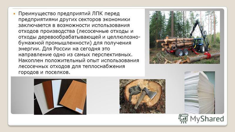 Преимущество предприятий ЛПК перед предприятиями других секторов экономики заключается в возможности использования отходов производства (лесосечные отходы и отходы деревообрабатывающей и целлюлозно- бумажной промышленности) для получения энергии. Для