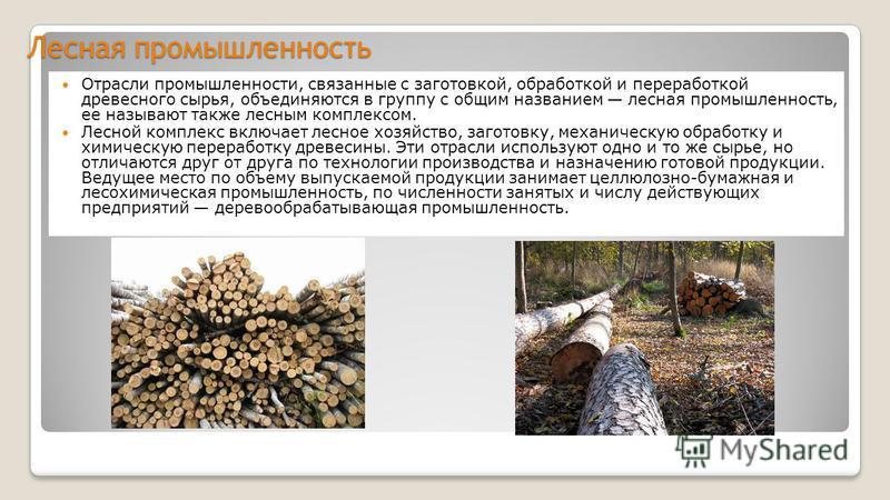 Лесная промышленность Отрасли промышленности, связанные с заготовкой, обработкой и переработкой древесного сырья, объединяются в группу с общим названием лесная промышленность, ее называют также лесным комплексом. Лесной комплекс включает лесное хозя
