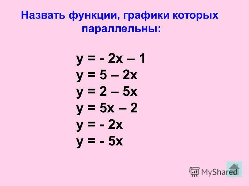 Назвать функции, графики которых параллельны: у = - 2 х – 1 у = 5 – 2 х у = 2 – 5 х у = 5 х – 2 у = - 2 х у = - 5 х