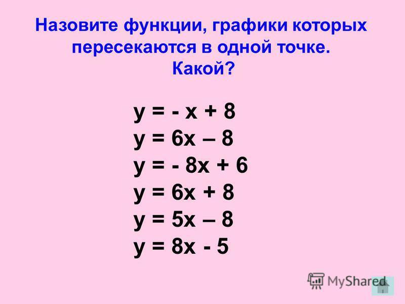 Назовите функции, графики которых пересекаются в одной точке. Какой? у = - х + 8 у = 6 х – 8 у = - 8 х + 6 у = 6 х + 8 у = 5 х – 8 у = 8 х - 5
