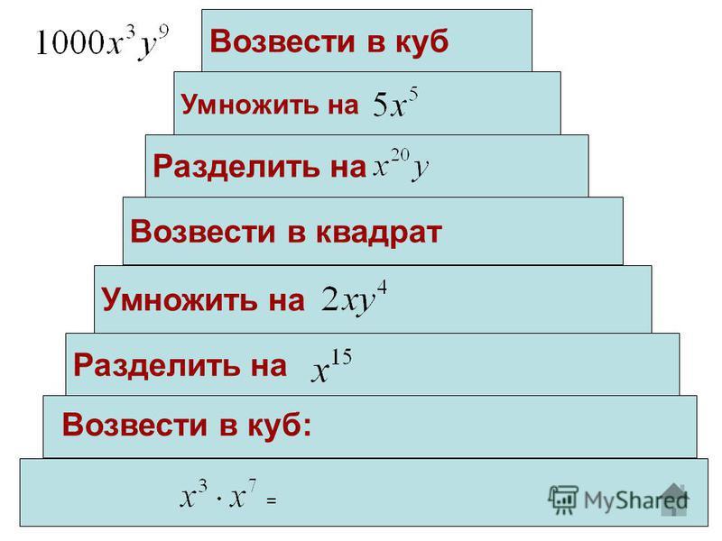 Разделить на Возвести в квадрат Умножить на Разделить на = Возвести в куб: Возвести в куб Умножить на