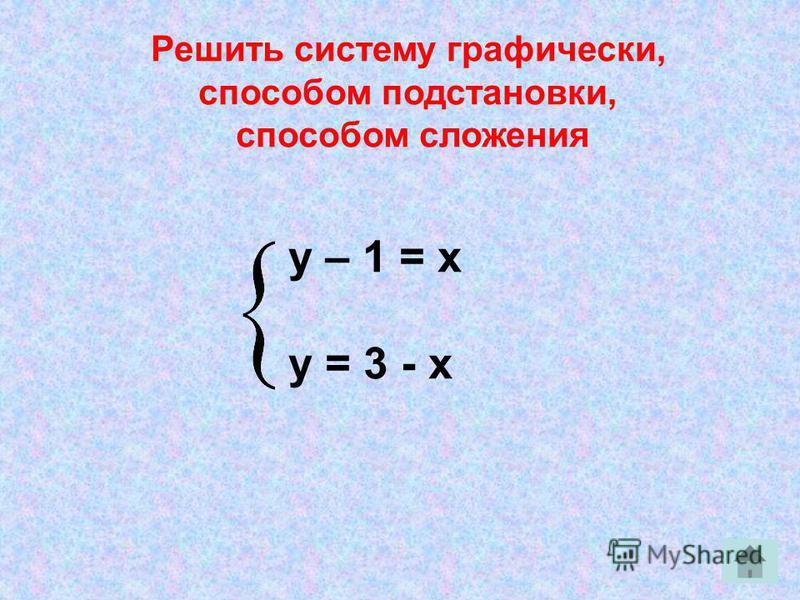 у – 1 = х у = 3 - х Решить систему графически, способом подстановки, способом сложения