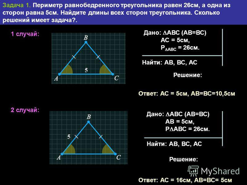 Задача 1. Периметр равнобедренного треугольника равен 26 см, а одна из сторон равна 5 см. Найдите длины всех сторон треугольника. Сколько решений имеет задача?. 1 случай: 2 случай: Дано: АВС (АВ=ВС) АС = 5 см, Р АВС = 26 см. Найти: АВ, ВС, АС Решение