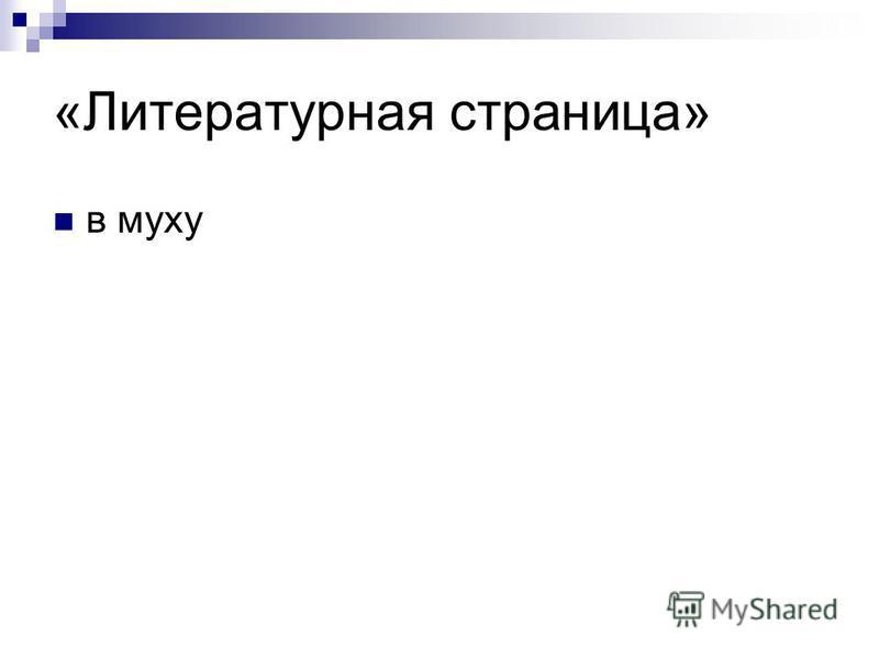 «Литературная страница» в муху