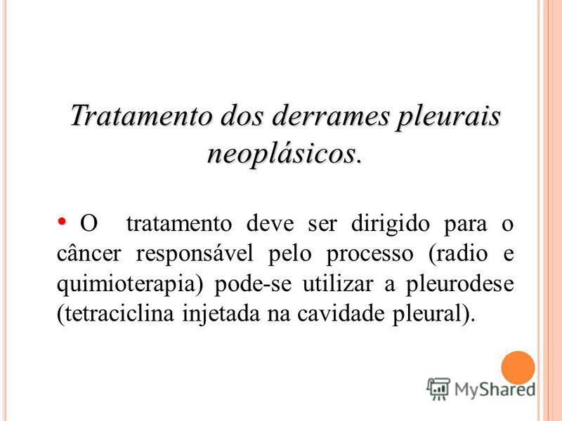 Tratamento dos derrames pleurais neoplásicos. O tratamento deve ser dirigido para o câncer responsável pelo processo (radio e quimioterapia) pode-se utilizar a pleurodese (tetraciclina injetada na cavidade pleural).