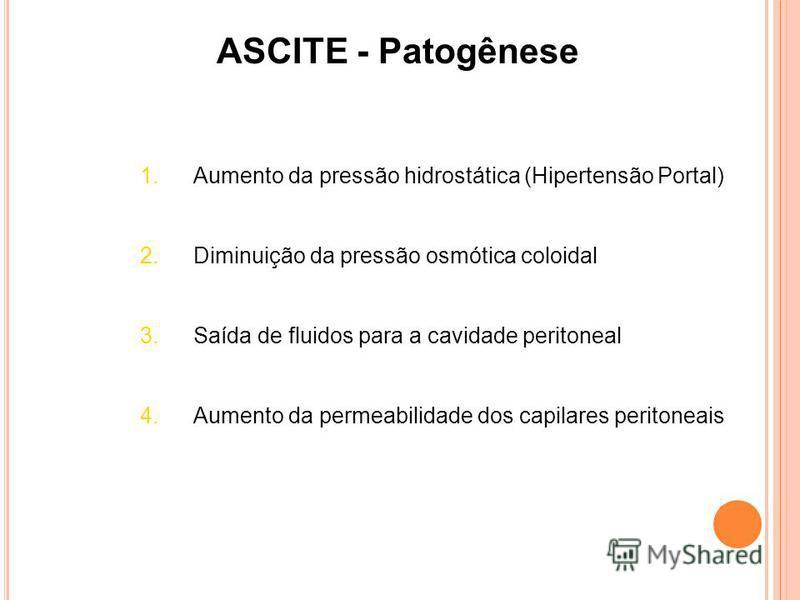 ASCITE - Patogênese 1.Aumento da pressão hidrostática (Hipertensão Portal) 2.Diminuição da pressão osmótica coloidal 3.Saída de fluidos para a cavidade peritoneal 4.Aumento da permeabilidade dos capilares peritoneais
