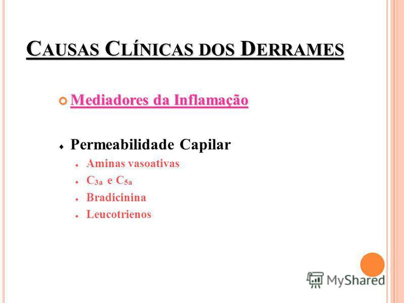 C AUSAS C LÍNICAS DOS D ERRAMES Mediadores da Inflamação Mediadores da Inflamação Permeabilidade Capilar Aminas vasoativas C 3a e C 5a Bradicinina Leucotrienos