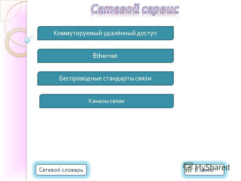 Коммутируемый удалённый доступ Ethernet Беспроводные стандарты связи Каналы связи В меню Сетевой словарь