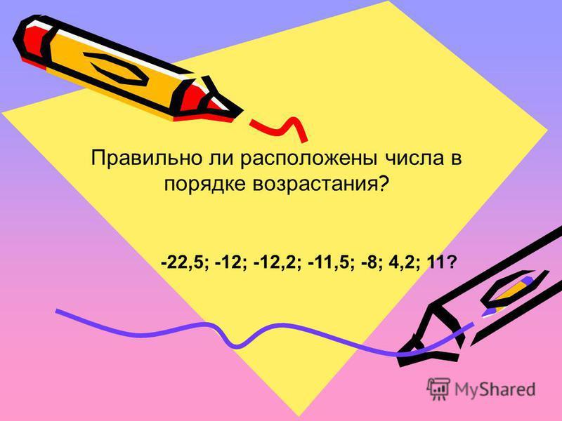 Правильно ли расположены числа в порядке возрастания ? -22,5; -12; -12,2; -11,5; -8; 4,2; 11?