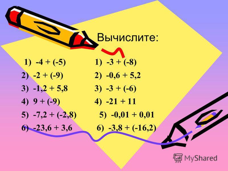 Вычислите: 1) -4 + (-5) 1) -3 + (-8) 2) -2 + (-9) 2) -0,6 + 5,2 3) -1,2 + 5,8 3) -3 + (-6) 4) 9 + (-9) 4) -21 + 11 5) -7,2 + (-2,8) 5) -0,01 + 0,01 6) -23,6 + 3,6 6) -3,8 + (-16,2)