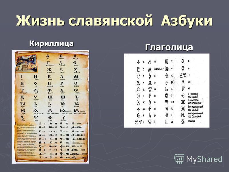 Жизнь славянской Азбуки Кириллица Глаголица