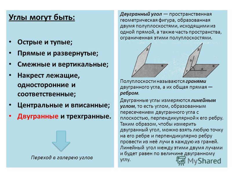 Углы могут быть: Острые и тупые; Прямые и развернутые; Смежные и вертикальные; Накрест лежащие, односторонние и соответственные; Центральные и вписанные; Двугранные и трехгранные. Двугранный угол пространственная геометрическая фигура, образованная д