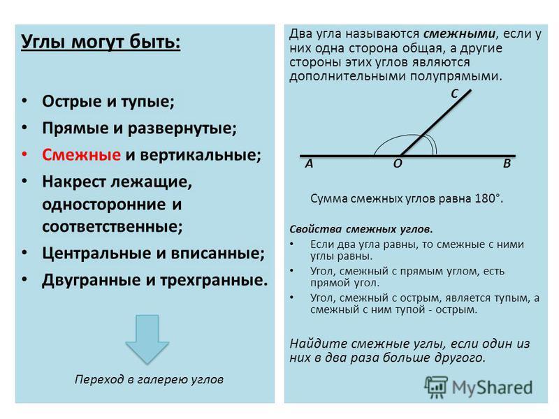 Углы могут быть: Острые и тупые; Прямые и развернутые; Смежные и вертикальные; Накрест лежащие, односторонние и соответственные; Центральные и вписанные; Двугранные и трехгранные. Два угла называются смежными, если у них одна сторона общая, а другие