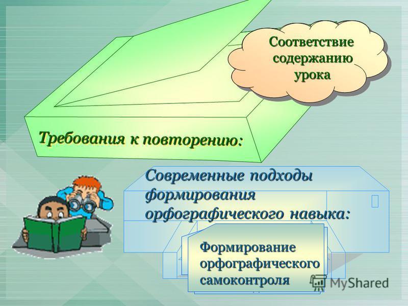 Требования к повторению: Новый и усложненный материал. материал. Большетворческихработ. Дифференцированный подход в обучении. Систематическое повторение повторение пройденного. пройденного. Соответствиесодержаниюурока Современные подходы формирования