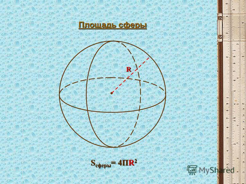 Площадь сферы S сферы = 4ПR 2 R
