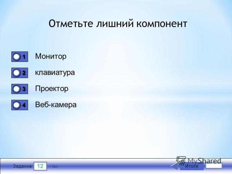 12 Задание Монитор клавиатура Проектор Веб-камера Итоги 1 бал. 1111 0 2222 0 3333 0 4444 0 Отметьте лишний компонент