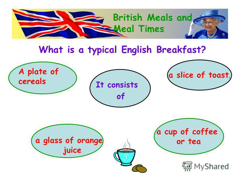 What is a typical English Breakfast? British Meals and Meal Times It consists of a cup of coffee or tea a slice of toast, A plate of cereals a glass of orange juice