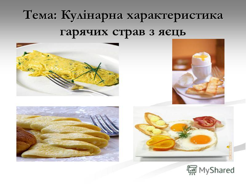 Тема: Кулінарна характеристика гарячих страв з яєць