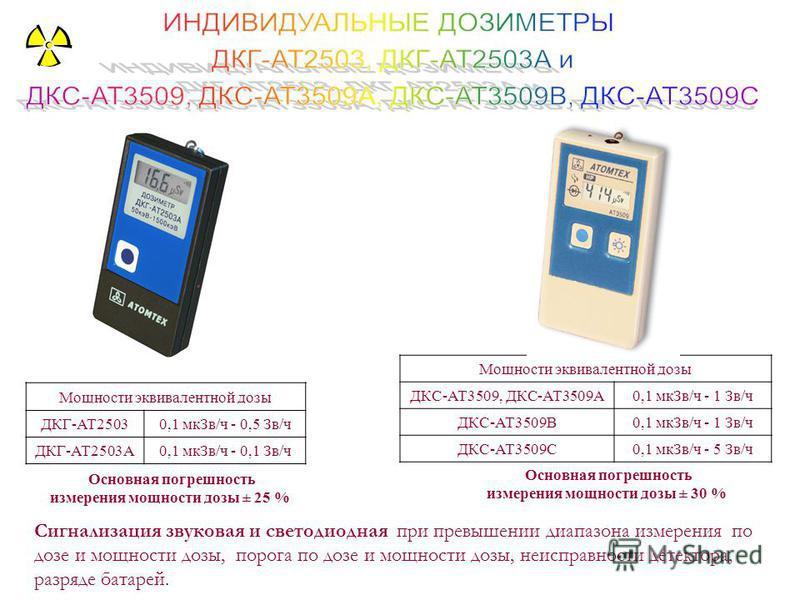 Мощности эквивалентной дозы ДКГ-АТ25030,1 мк Зв/ч - 0,5 Зв/ч ДКГ-АТ2503А0,1 мк Зв/ч - 0,1 Зв/ч Основная погрешность измерения мощности дозы ± 25 % Сигнализация звуковая и светодиодная при превышении диапазона измерения по дозе и мощности дозы, порога
