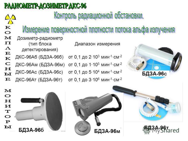 Дозиметр-радиометр (тип блока детектирования) Диапазон измерения ДКС-96Аб (БДЗА-96 б)от 0,1 до 2·10 3 мин -1 ·см -2 ДКС-96Ам (БДЗА-96 м)от 0,1 до 1·10 5 мин -1 ·см -2 ДКС-96Ас (БДЗА-96 с)от 0,1 до 5·10 4 мин -1 ·см -2 ДКС-96Ат (БДЗА-96 т)от 0,1 до 3·