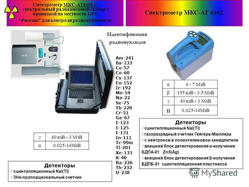Спектрометр МКС-АТ6101 С спектральный радиационный сканер c привязкой на местности GPS Рюкзак для контроля радиоактивности Спектрометр МКС-АТ 6102 α4 - 7 МэВ β155 кэВ - 3.5 МэВ γ40 кэВ - 3 МэВ n 0.025-14МэВ Детекторы сцинтилляционныйый NaI(Tl) газора