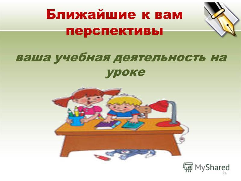 Ближайшие к вам перспективы ваша учебная деятельность на уроке 14
