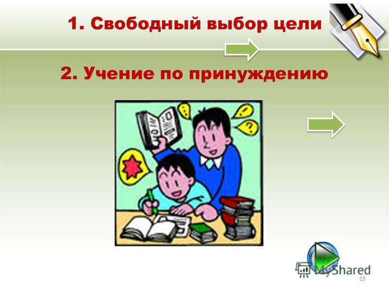 1. Свободный выбор цели 2. Учение по принуждению 15