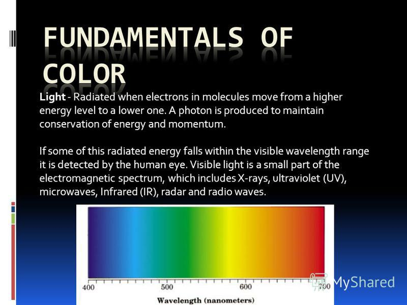 Light - Radiated when electrons in molecules move from a higher energy level to a lower one. A photon is produced to maintain conservation of energy and momentum. If some of this radiated energy falls within the visible wavelength range it is detecte