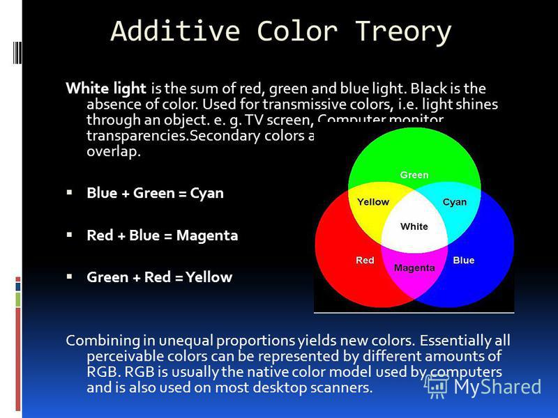 Additive Color Treory White light is the sum of red, green and blue light. Black is the absence of color. Used for transmissive colors, i.e. light shines through an object. e. g. TV screen, Computer monitor, transparencies.Secondary colors are produc
