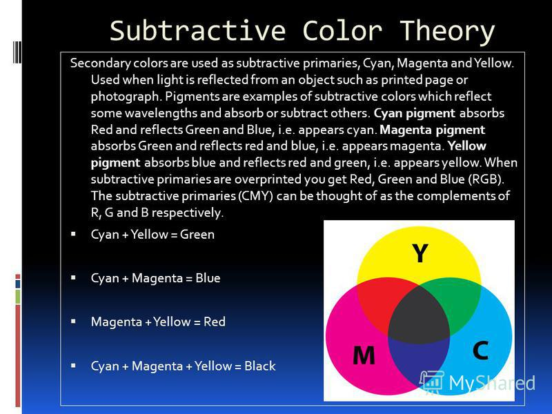 Subtractive Color Theory Secondary colors are used as subtractive primaries, Cyan, Magenta and Yellow. Used when light is reflected from an object such as printed page or photograph. Pigments are examples of subtractive colors which reflect some wave