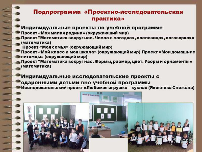 Подпрограмма «Проектно-исследовательская практика» Индивидуальные проекты по учебной программе Проект «Моя малая родина» (окружающий мир) Проект