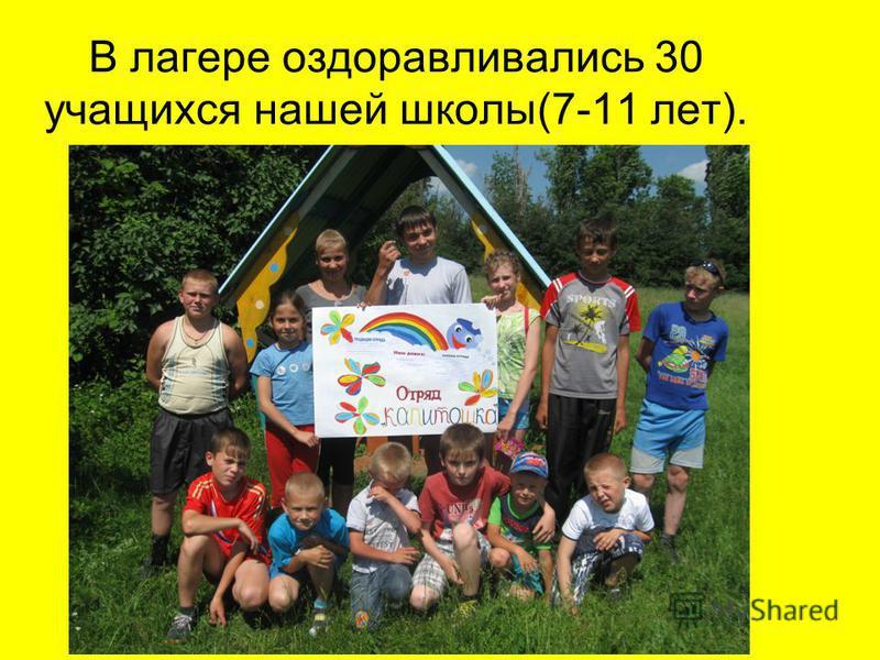 В лагере оздоравливались 30 учащихся нашей школы(7-11 лет).