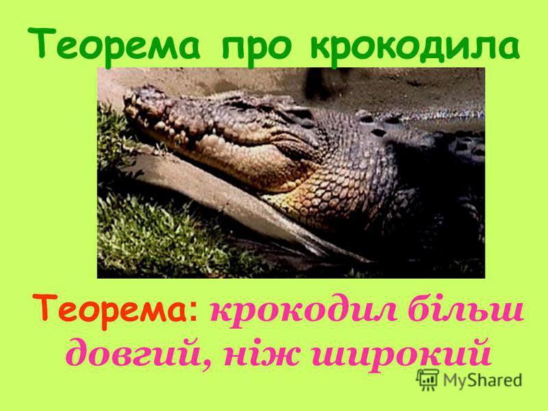 Теорема про крокодила Теорема : крокодил більш довгий, ніж широкий